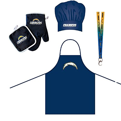 San Diego Chargers NFL Barbeque Apron and Chef's Hat and Oven Mitt with Bottle Opener