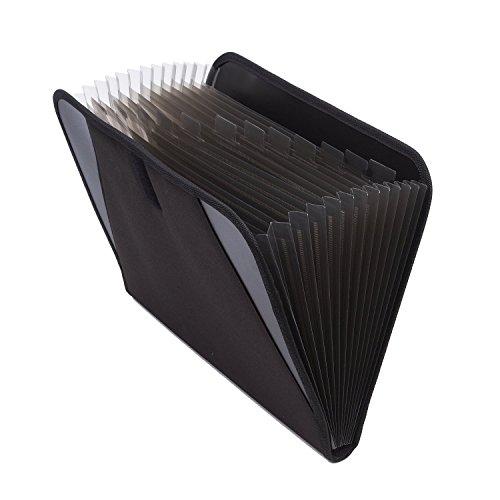 Erweiterbar Tragbar Aktenordner Dokumentenmappe A4 Fächermappe 13 fächer Handheld Ordnungsmappe Ordner Datei Folder mit Schnalle Schwarz