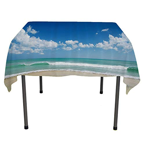 Modern Decor, Table ClothsSandy Beach with Bright Skyline in The Island Coastal Peaceful Print, for Outdoor and Indoor Use, 50x50 Inch Turquoise Cream