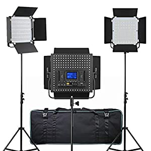 PIXEL 3 Pack Dimmable LED Video Light and Stand for Photography,Studio,YouTube,Video Shooting
