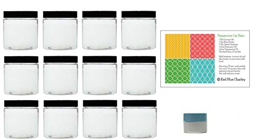 (Clear 2 oz Plastic Jars with Black Lids (12 pk) with Mini Jar - PET Round Refillable Containers)