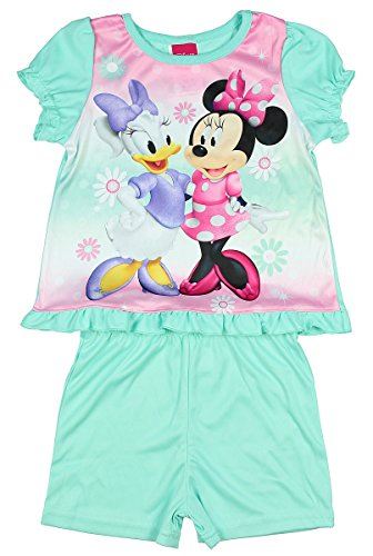 Disney Minnie Mouse And Daisy Duck 2 Piece Shirt And Shorts Pajama Set (4T) (Daisy Duck Outfits)
