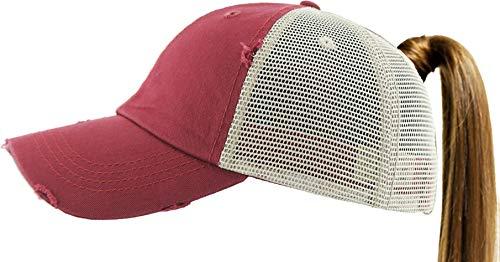(PONY-002M MAR Ponytail Messy High Bun Adjustable Mesh Trucker Baseball Cap)