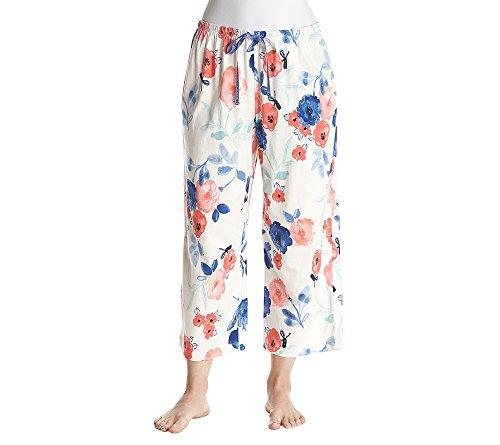 HUE Floral Pajama Capri Pants S