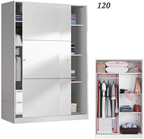 HABITMOBEL Armario 120 Puertas correderas + Colgador Interior + estantes + CAJONERA Interior: Amazon.es: Hogar