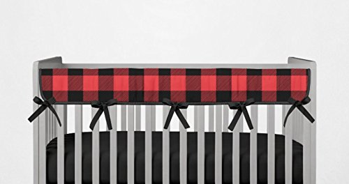 Crib Rail Guard- Red and Black Buffalo Plaid- Handmade in The USA
