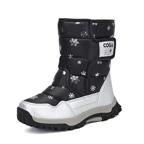 (Mishansha Girls Boys Toddler Little Big Kids Winter Fur Snow Boots Warm Water Resistant Antislip Outdoor Shoes Black)
