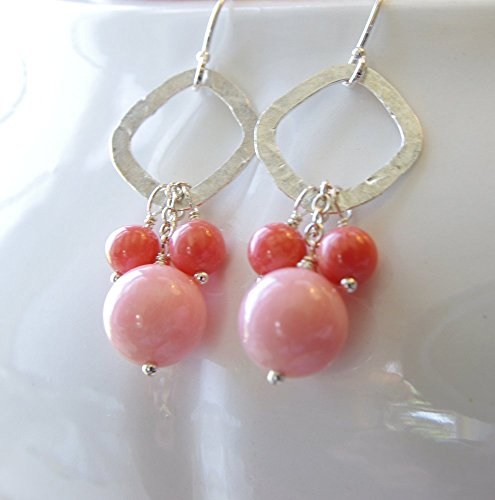 - Coral Earrings Pink Peach Sterling Silver Hammered Square Hoop