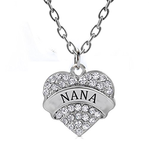 Nana Heart (Nana Gifts Heart Pendant Necklace Women Girl - Charm White Crystal Silver)