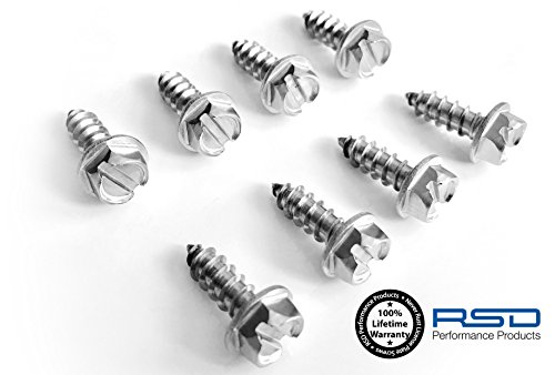 RSD License Plate Screws for Domestic Cars & Trucks Never Rust Stainless Steel (Slotted Hex)