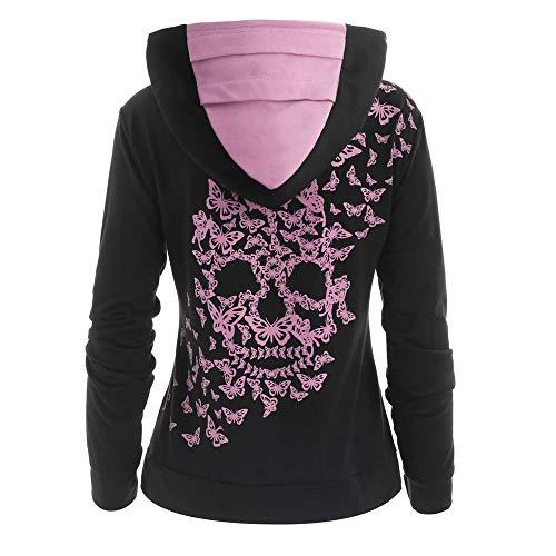 Womens Fashion Butterflies Skull Print Hoodies Kangaroo Pocket Hooded Sweatshirt Sweater Tops Winter ODGear Pink (Hoodie Skull Pink)