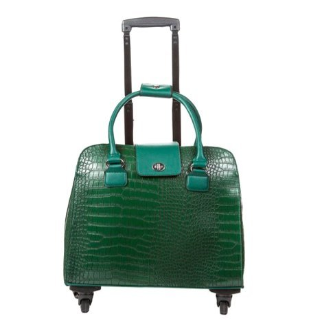 Hang Accessories Crocodile Rolling Carry On Trolley Bag - Wheeled travel, work, and weekend tote - Green by Hang Accessories