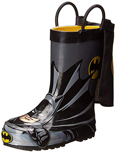 Western Chief Kids Waterproof D.C. Comics Character Rain Boots with Easy on Handles, Batman Everlasting, 6 M US Toddler