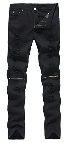 NITAGUT Men's Ripped Slim Fit TaperedLeg Jeans