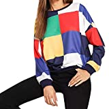 Women Tops Girl Casual Sweatshirt Color Block Matching O-Neck T-Shirts Long Sleeve Pullover (XL, Multicolor)