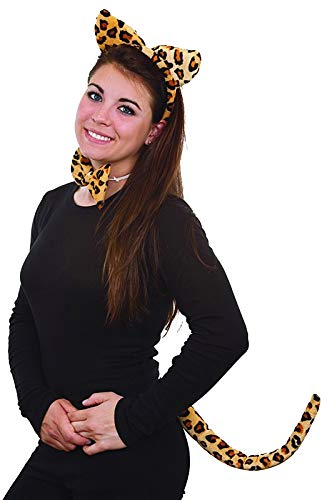 Halloween Leopard Ears And Tail (Jacobson Hat Company Women's Costume Set, Leopard Print,)