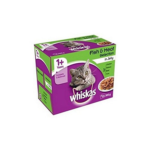 WHISKAS 1+ Adult Cat Food Pouches Fish and Meat Selection in
