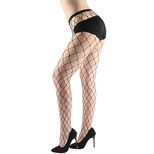 WEANMIX Lace Patterned Tights Fishnet Stockings Pattern Pantyhose (Black - Gold - Diamond Pantyhose Pattern
