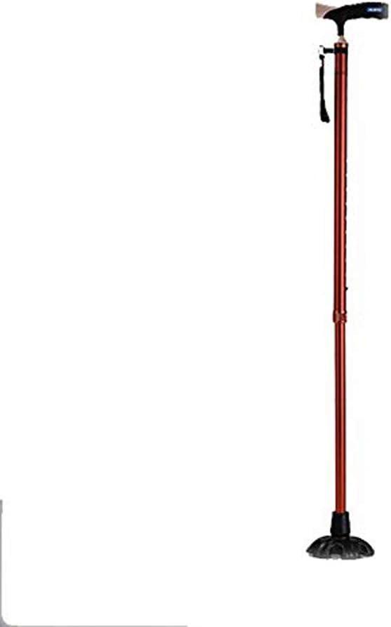 Bastón Multifuncional Bastón resbaladizo para Ancianos Bastón para discapacitados Andador Seis pies Luces Antideslizantes