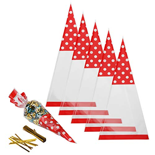 (Candy Bags,MEZOOM 100 Pcs Cellophane Cone Treat Party Bags with Gold Twist Ties for Christmas Wedding Cookie Gift Candy Buffet Supply)