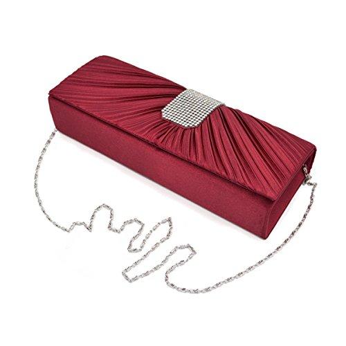 Elegant Classic Pleated Satin Flap Rhinestones Clutch Evening Bag, (Satin Flap Clutch)