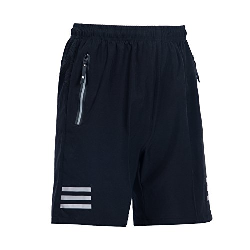 - ZODWICD Men's Running Shorts Quick Dry Breathable Sports Shorts with Zipper Pockets Gym Shorts for Workout, Training, Jogging(Black) Medium