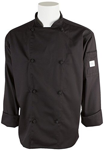 Mercer Culinary M61020BKL Genesis Men's Chef Jacket with Cloth Knot Buttons, Large, Black