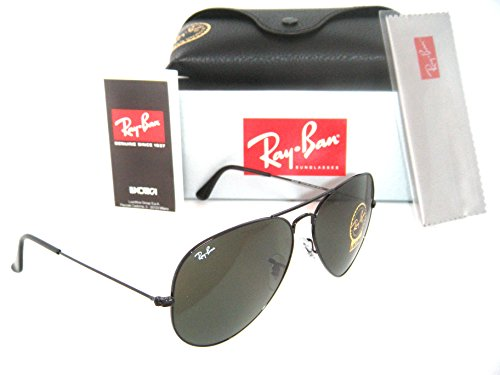 RAY BAN 3026 AVIATOR BLACK FRAME RB 3026 L2821 62mm GREEN G-15 SUNGLASSES - Aviator 3026 Rayban