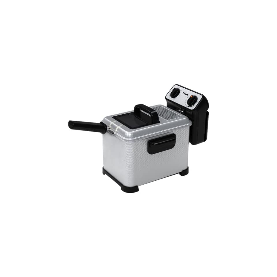 T fal FR4046002 Filtra Pro 2.6 lb / 3 Little Deep Fryer with Stainless Steel Waffle and Filter Screen, Silver