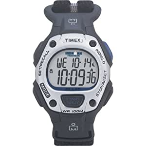 Timex Unisex T5G271 Ironman Traditional 30-Lap Black/Blue Fast Wrap Velcro Strap Watch