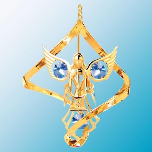 (24K Gold Plated Hanging Sun Catcher or Ornament..... Angel holding Candles with Blue Swarovski Austrian Crystals in a Spiral)