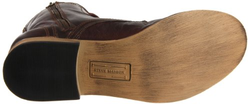 Steve Madden Mens Troopah Stivale Stringato In Pelle Marrone