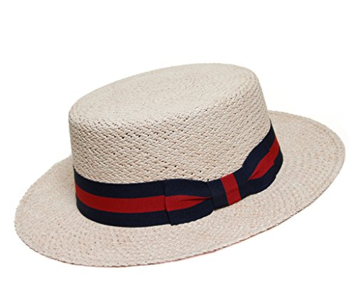 Borges   Scott Premium Boater - Natural with Blue and Red trim - Natural  and Breathable Materials - 60cm (7-1 2) 68b4ac4a4096