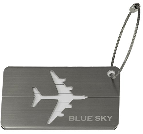 Blue Sky Luggage Tag, Highly Polished, Stainless Steel, Suitcase Travel I.D. Label Tag