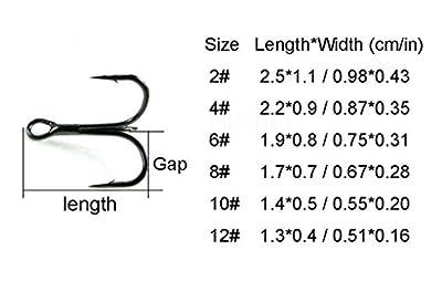 130pcs/box Treble Hook Size #4 #6 #8 #10 Strong Treble Fishing Hooks High Carbon Steel Fishing Hooks Tackles Box for Lures Baits Classic Treble Fishhooks