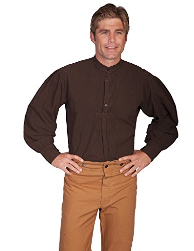 wahmaker-by-scully-mens-wahmaker-pleated-front-puffed-sleeve-shirt-chocolate-x-large