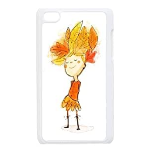Ipod Touch 4 Case Smiling Child Leaves, Doah, {White}