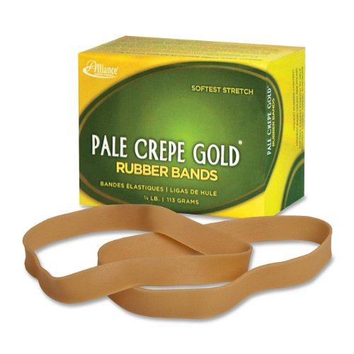 Alliance Rubber Pale Crepe Gold Rubber Bands #107-1/4 Pound Box -