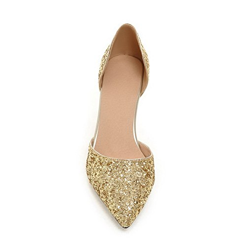 Cone Toe Womens MMS04170 4 1TO9 Heel Sandals Low Pointed Shape UK Uppers Sequin 5 Cut Gold gw5wxfRX