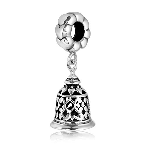 WithLoveSilver 925 Sterling Silver Hearts Ring Jingle Bell Chime Lucky Fortune Dangle Charm Bead Bracelets