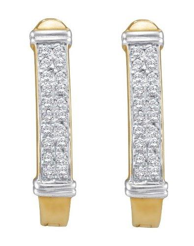 10 k Gelb Gold 0,15 Eigengewicht Diamant Pavé-Fassung Ohrringe (höherer Feingehalt als Gold mit 9 Karat Gold
