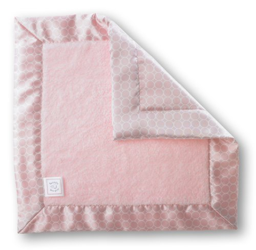 SwaddleDesigns Baby Lovie, Small Security Blanket, Cozy Microfleece with Satin Trim, Pastel Pink with White Mod Circles
