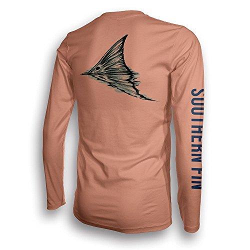 Performance Fishing Shirt Unisex Southern Fin UPF 50 Dri Fit Long Sleeve Apparel - XX-Large, Redfish Tail ( redfish_xxl ) ()
