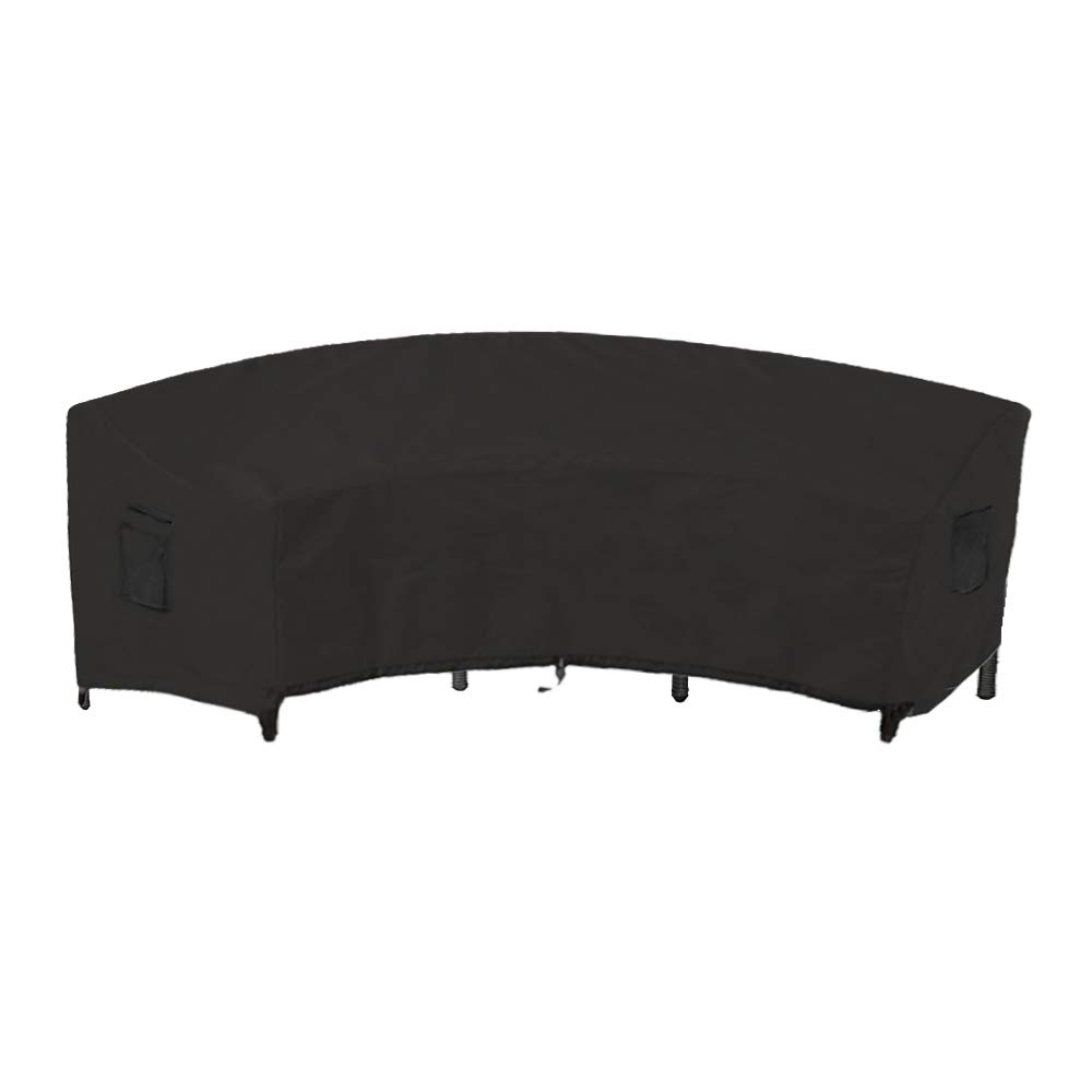 Linkool Outdoor Furniture Covers Patio Sectional Curved Couch Protector Black Waterproof for Half-Moon Sofa Sets 190x36x39 inches by Linkool