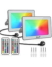 Reflektor RGB CLY 25 W LED z pilotem zdalnego sterowania 360° RGB, reflektor, kolorowy, przyciemniany, do użytku na zewnątrz, stopień ochrony IP66, wodoszczelny, na Halloween, do ogrodu, na imprezę, taras [2 sztuki]