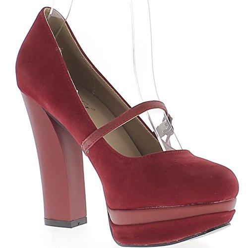 ChaussMoi stilettos Rojos a 11,5 cm con Tacones de Gamuza Plataforma y Pestaña Aspecto
