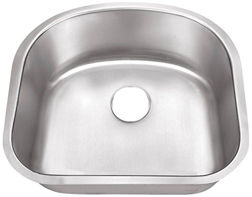 Belle Foret Single Hole - Belle Foret BFSB508 Undermount 0-Hole Single Bowl Kitchen Sink, Stainless Steel, 23-1/4-Inch x 20-7/8-Inch x 9 -Inch