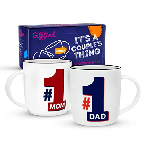 Gifffted Happy Anniversary Gifts For Parents, Couples Worlds Best Ever Mom and Dad Gift Together, Couple Coffee Mugs Present Ideas From Kids, Son, Daughter, Mothers Day, New Year, 2 Cups Set, Mug V1