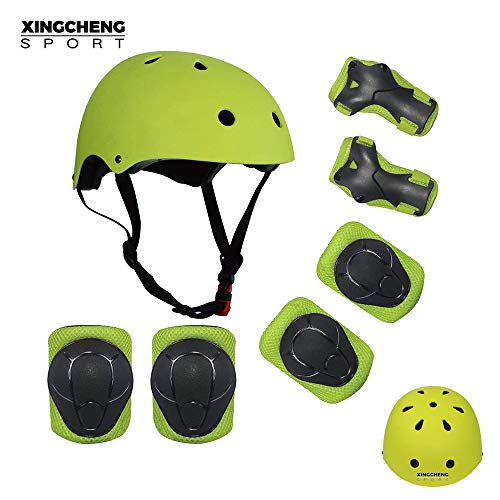 SLA-SHOP Kids Boys and Girls Protective Gear Set, Outdoor Sports Safety Equipment 7Pcs Child Helmet Knee &Elbow Pads Wrist Guards for Roller Scooter Skateboard Bicycle(3-8Years Old) (Yellow)