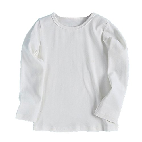 Fullfun 2-6T Baby Boys Girls Long Sleeve Cotton Shirts Clothes for Autumn Winter (3T, white) ()
